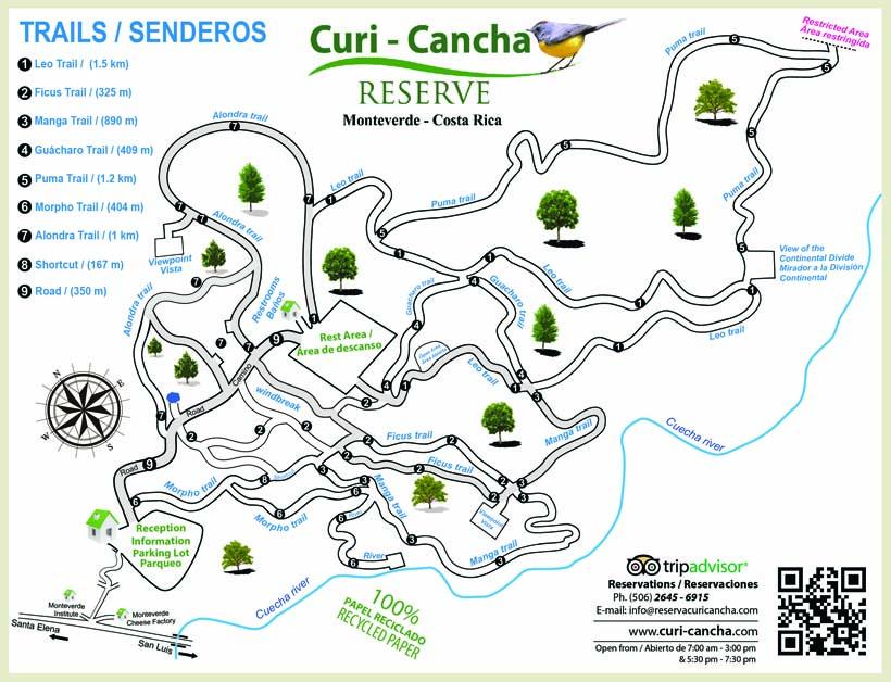 Kaart wandelpaden Curi Cancha Monteverde