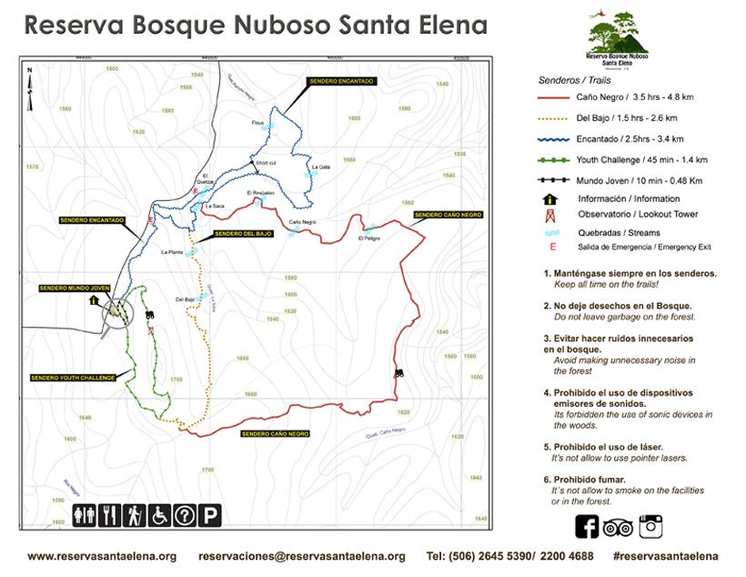 kaart wandelpaden in Santa Elena Cloud Forest