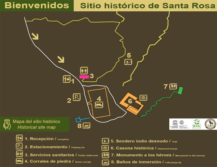kaart historische site Santa Rosa Nationaal Park