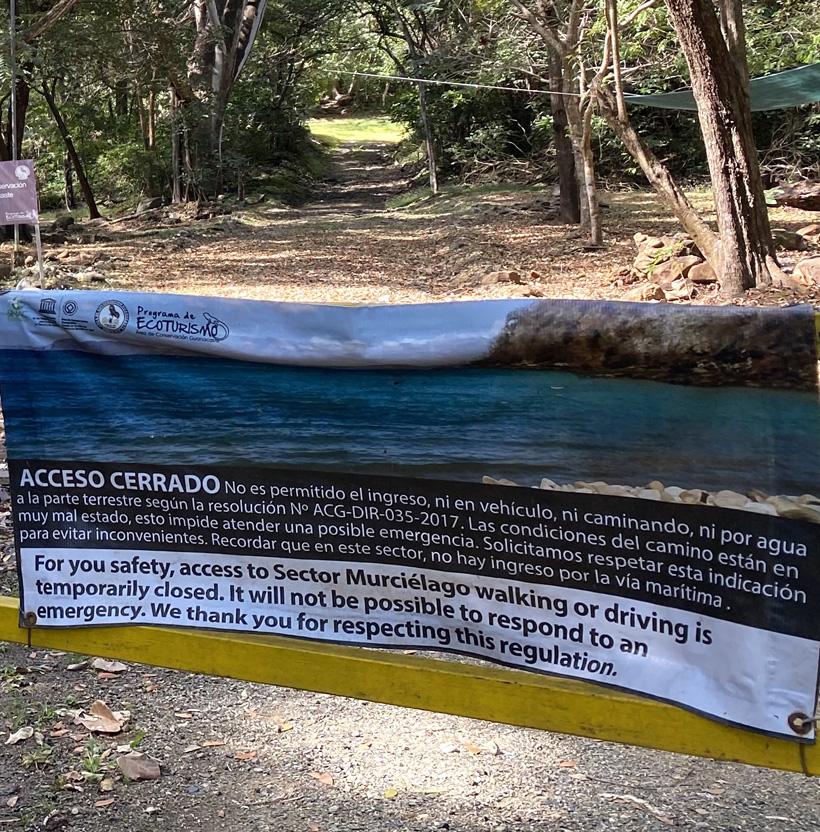gesloten sectoren in Santa Rosa Nationaal Park