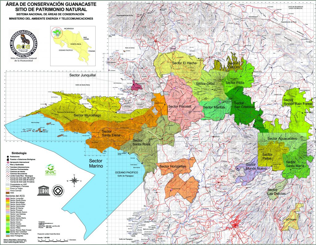 sectoren in Guanacaste conservation area