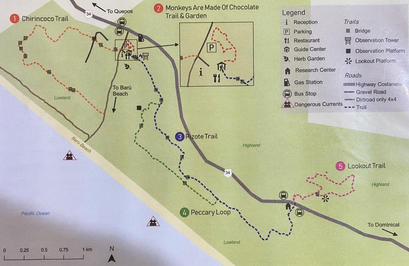 wandelpaden kaart Hacienda Baru