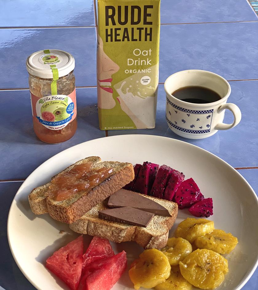 vegan ontbijt in Costa Rica