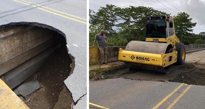 beschadigde weg in Costa Rica